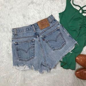 Levi's 550 Blue Washed Hi-Rise CutOff Denim Shorts
